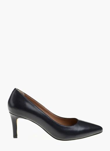 Divarese Kısa İnce Topuklu Deri Ayakkabı Lacivert